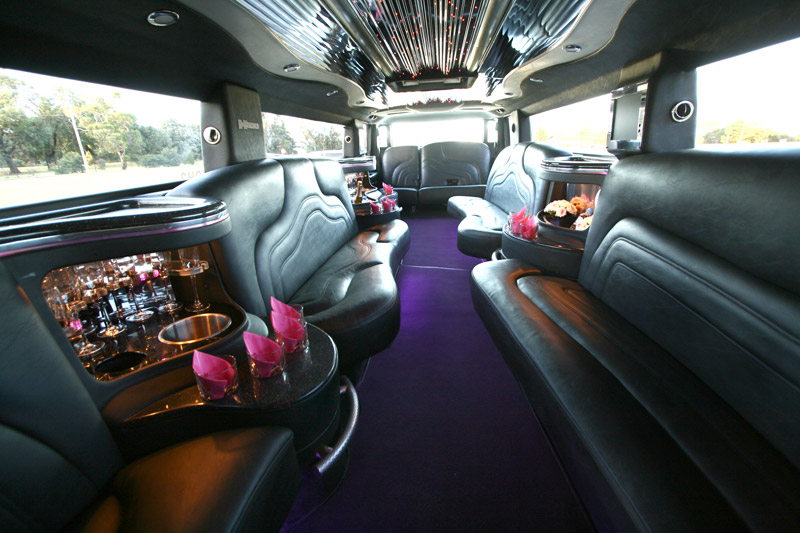 Silver Hummer H2 Limousine Interior