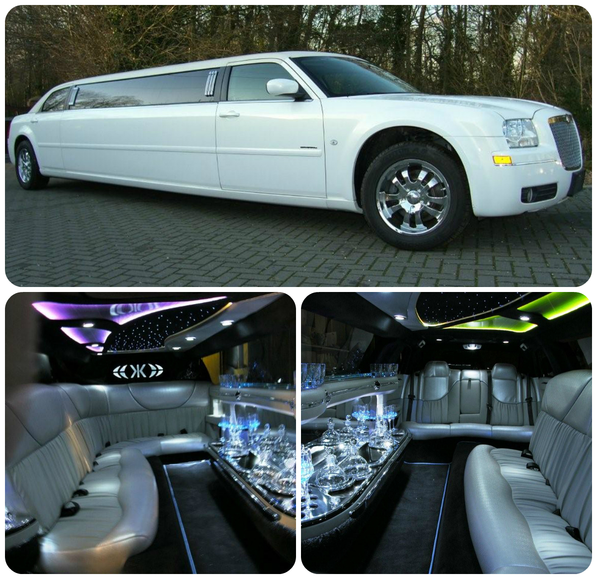 White Chrysler 300c Limo